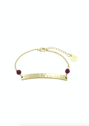 Willow Beaded Bar Bracelet- Soft Gold & Deep Berry Agate