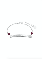 Willow Beaded Bar Bracelet- Silver & Deep Berry Agate