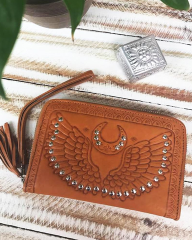 Angel Wings Wallet- Tan