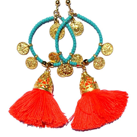 Tanis Tassel Earring- Aquamarine and Neon Tangerine