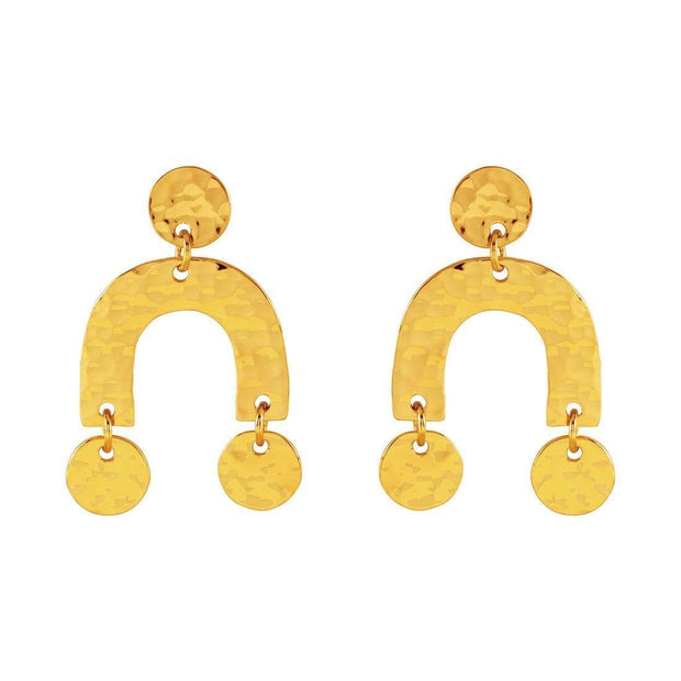 E664G - Texture Earrings Gold