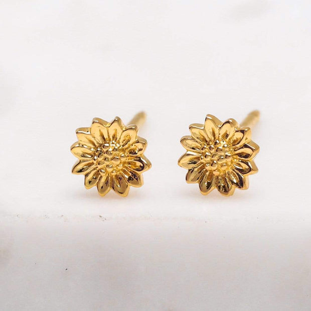 S531G - Gold Tiny Sunflower Studs