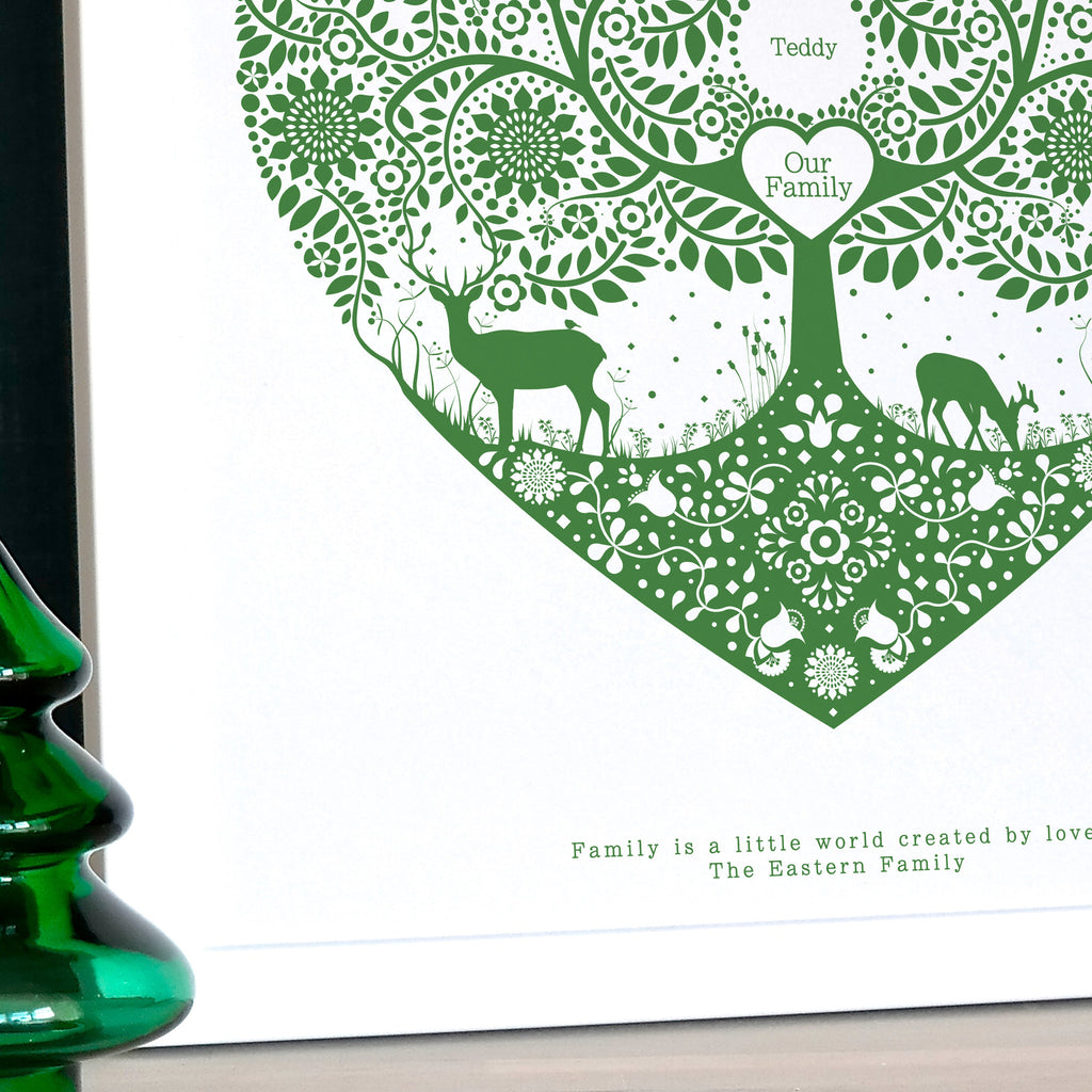 Personalised Woodland Family Tree Print