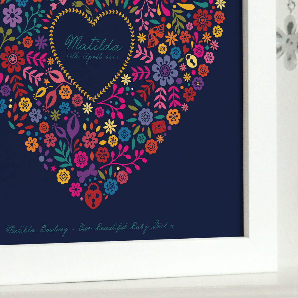 Framed Personalised New Baby Floral Heart Print