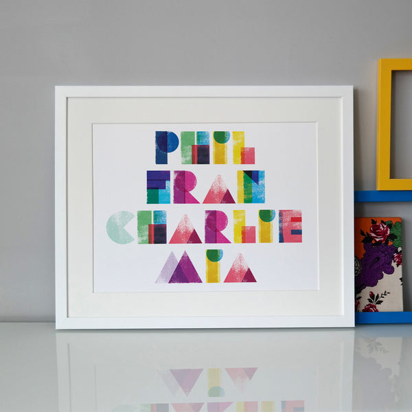 Personalised Typographic Family Names Print