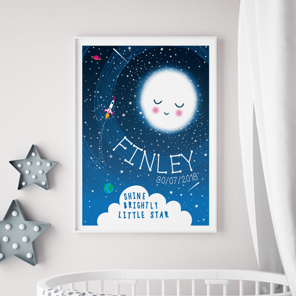 Personalised Reach For The Stars Space Print