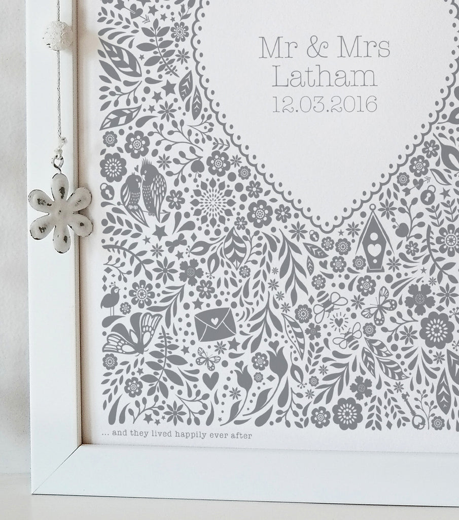 Personalised Floral Heart Wedding Print