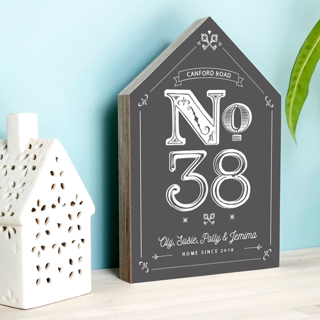Personalised House Number New Home Wooden Block