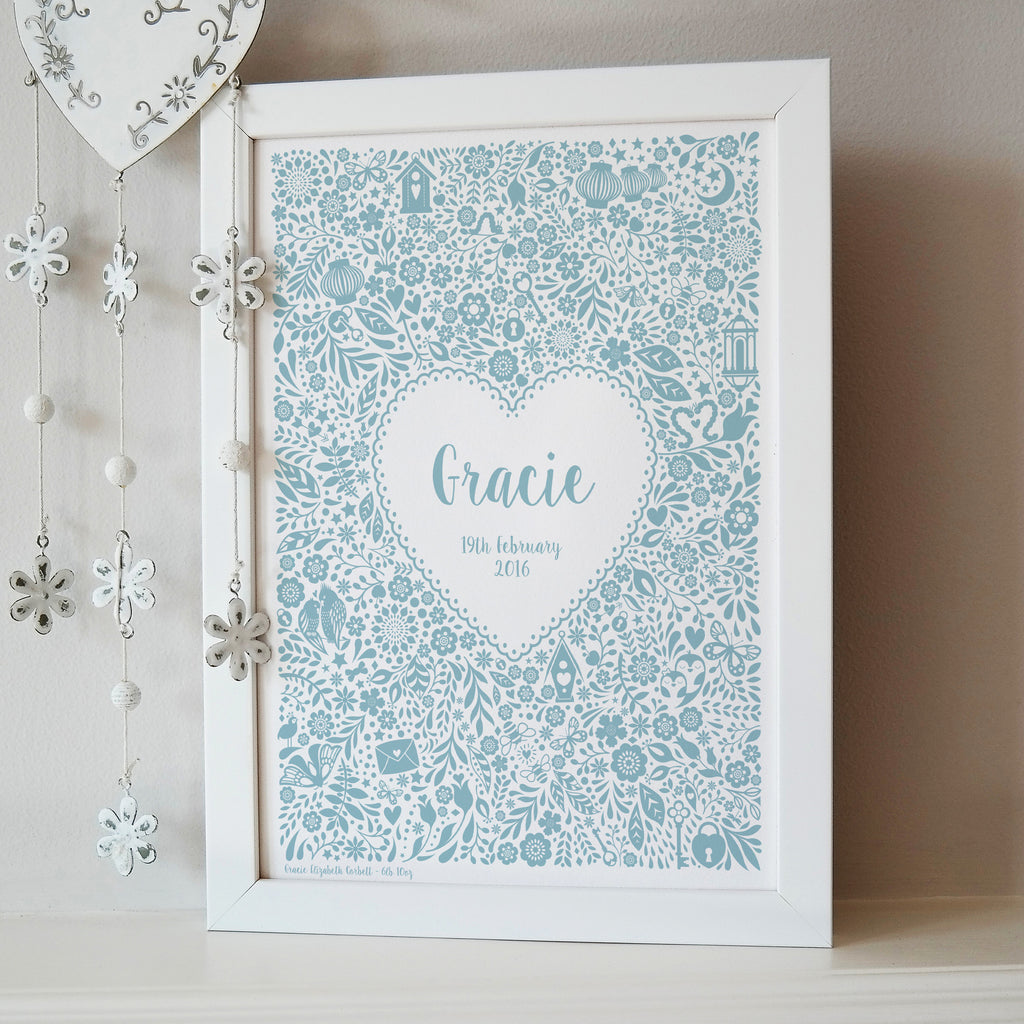 Personalised New Baby Floral Heart Print