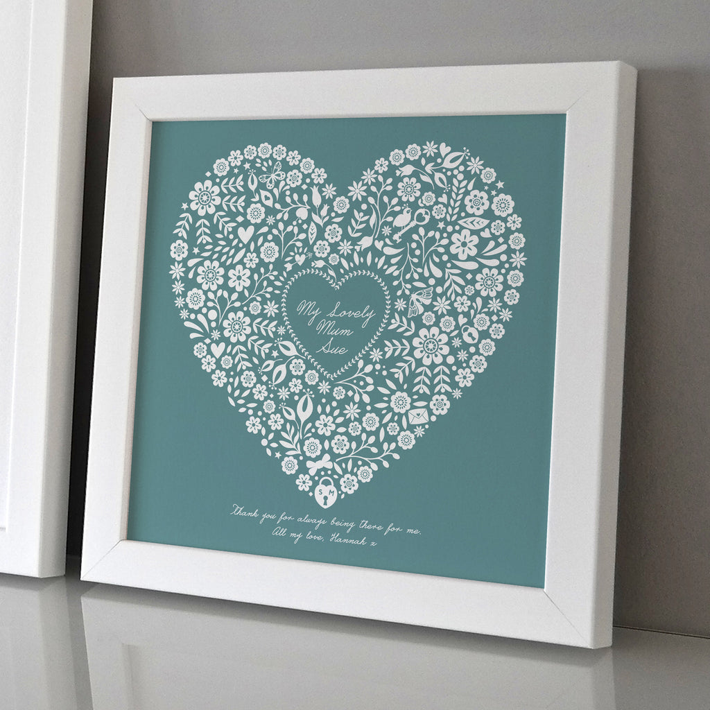 Framed Mothers Day Floral Heart Print
