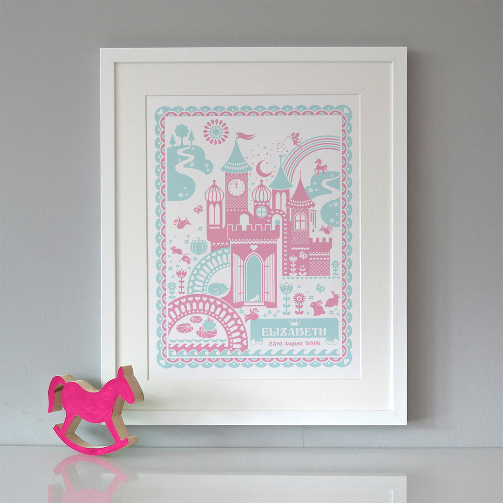 Personalised New Baby Princess Castle Print