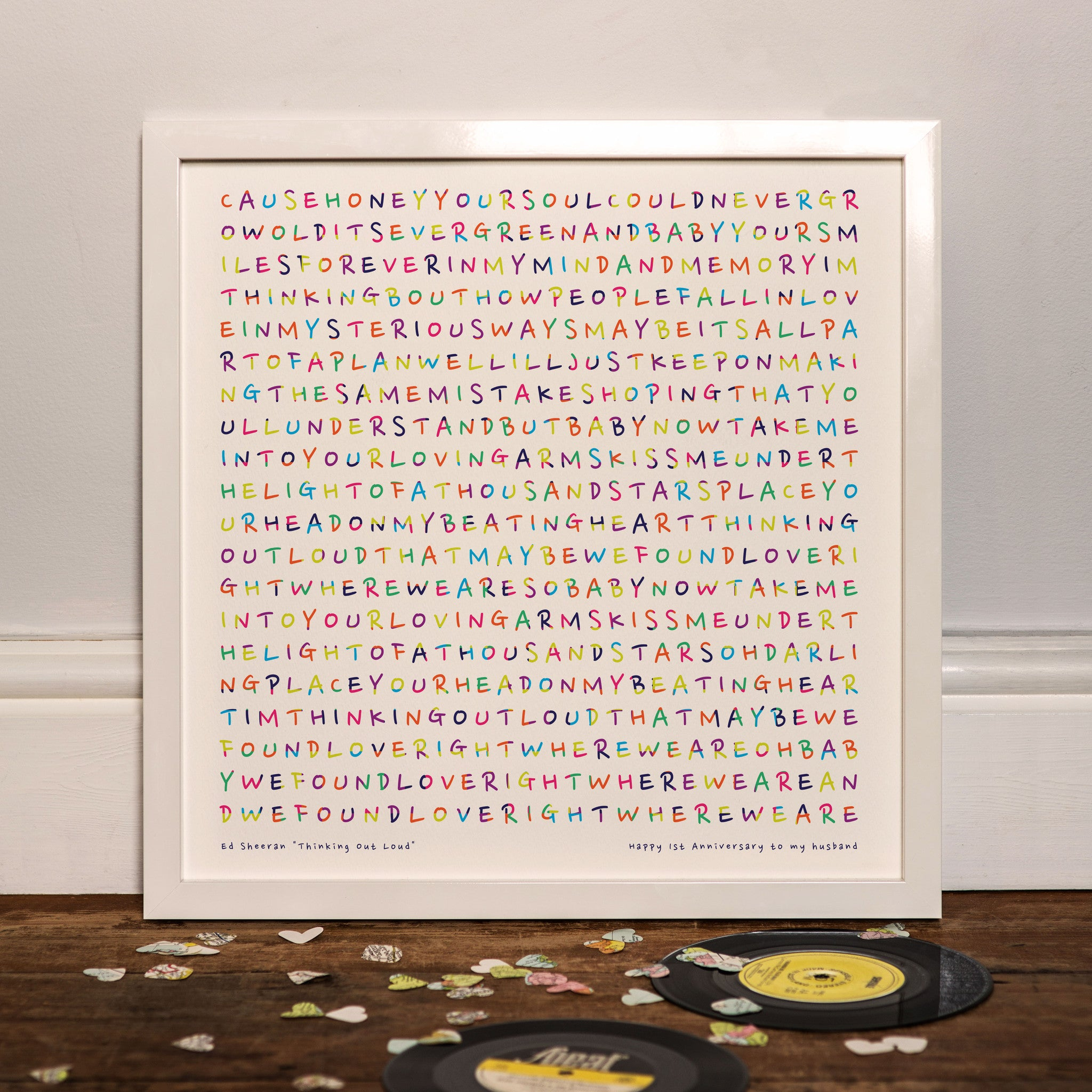 A3 Framed Print Personalised Lyrics Wedding Gift Song Words Anniversary Present