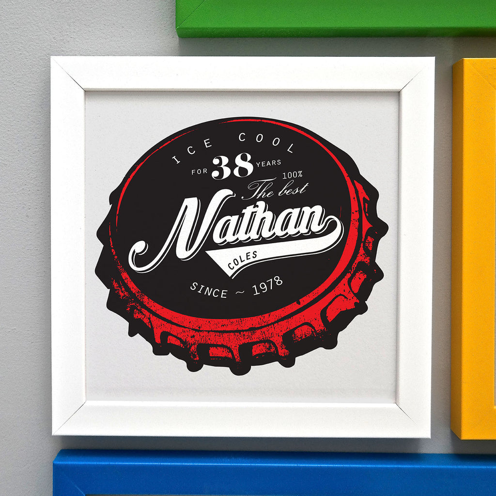 Framed Birthday Beer Bottle Top Print