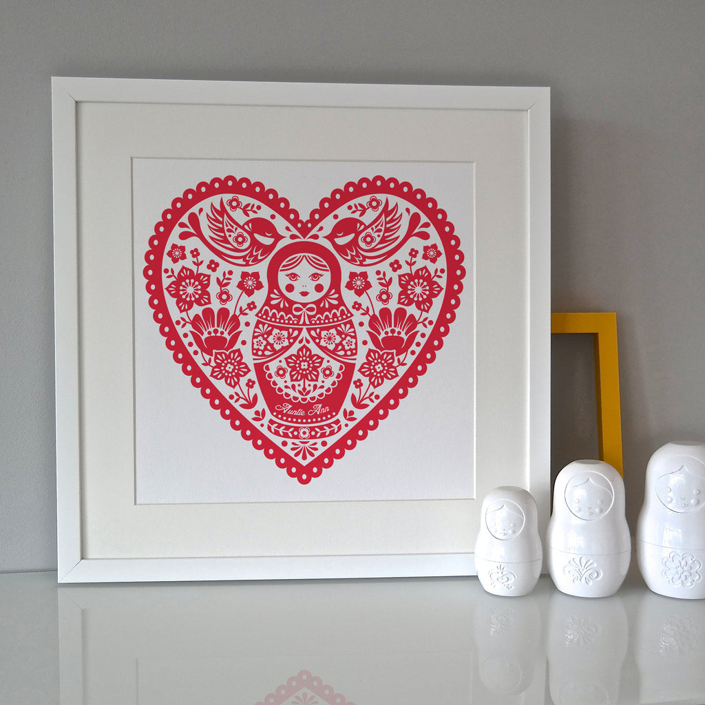 Personalised Russian Doll Folk Print