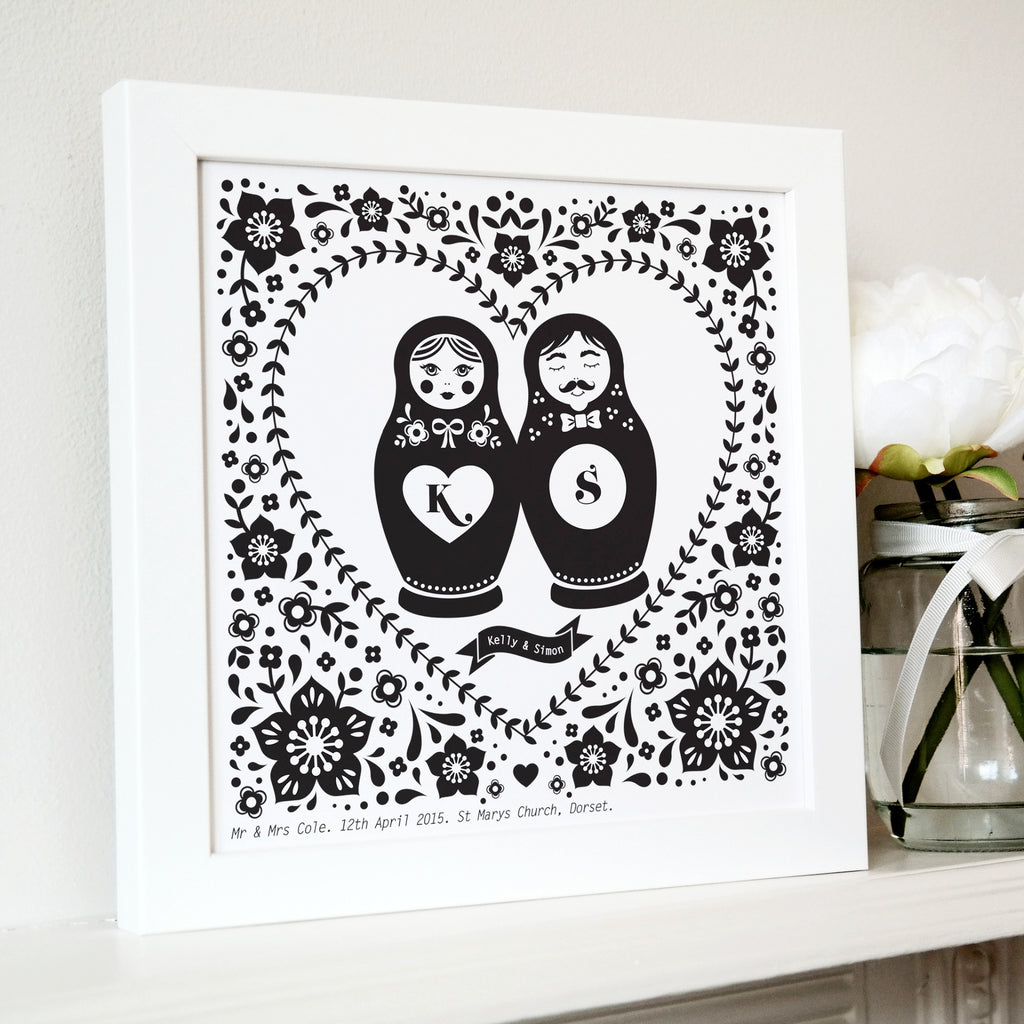 Framed Russian Doll Couple Personalised Print