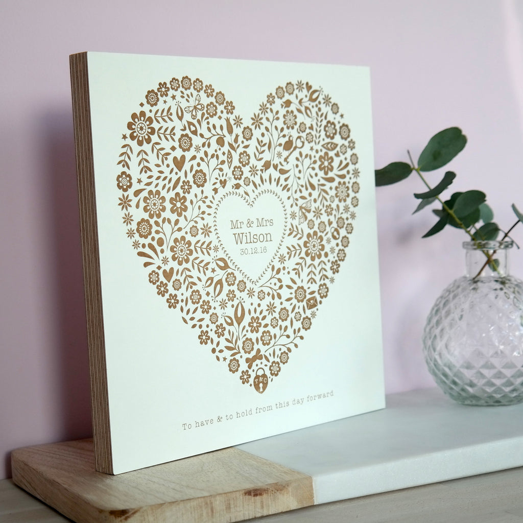 Personalised Engraved Wedding Floral Heart Plaque