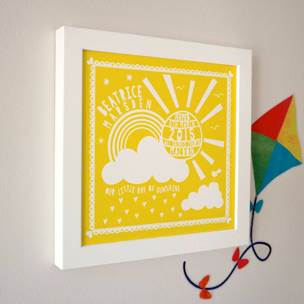 Framed Christening Sunshine Print