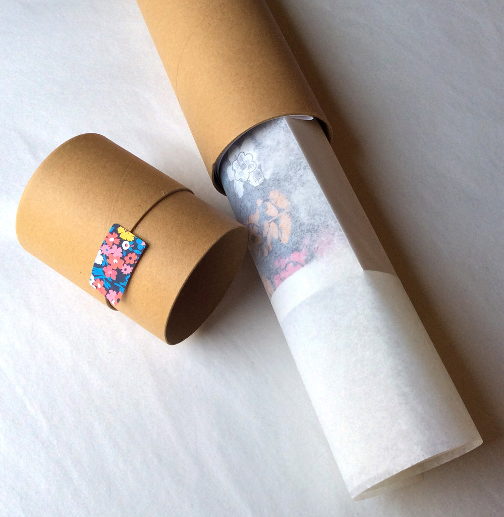 Tube packaging for A3 and A2 prints. A4 print will arrive flat in a sturdy envelope