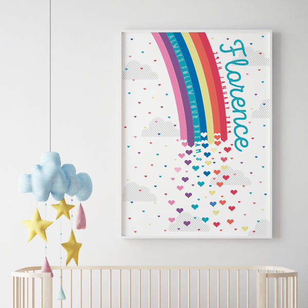 Personalised Rainbow New Baby Print