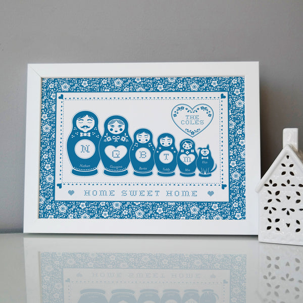 Personalised Cross Stitch Russian Doll Family Print