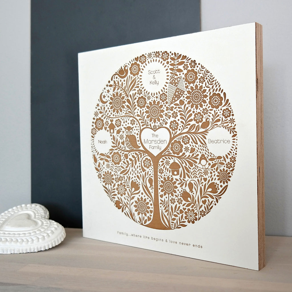 Personalised Engraved Family Tree Plaque