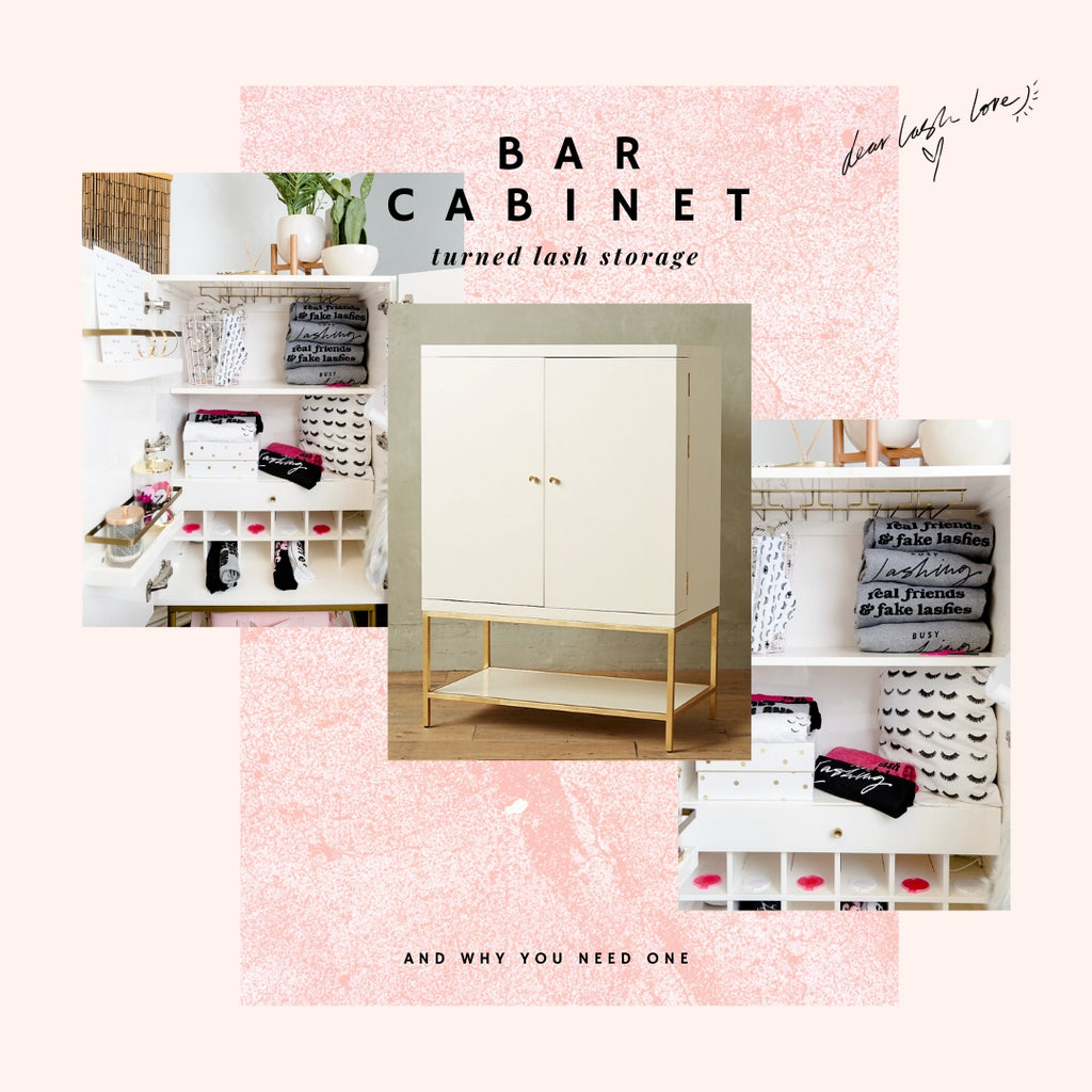 Bar cabinet turned lash storage and why you need one
