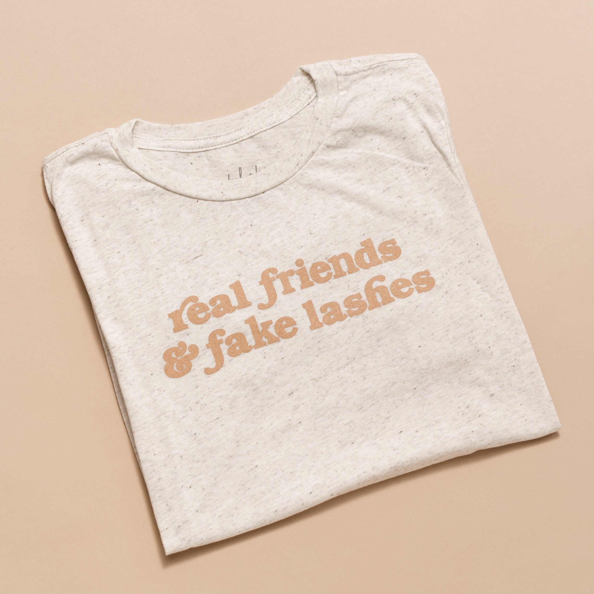 Tan Real Friends & Fake Lashes Tee - SMALL