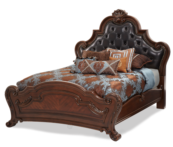 AICO - Michael Amini - Palace Gates Cal King Tufted Leather Mansion Bed (3 pc)