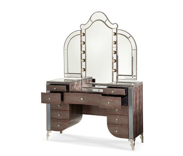 AICO - Michael Amini - Hollywood Swank Upholstered Vanity & Mirror Amazing Gator(2 pc)