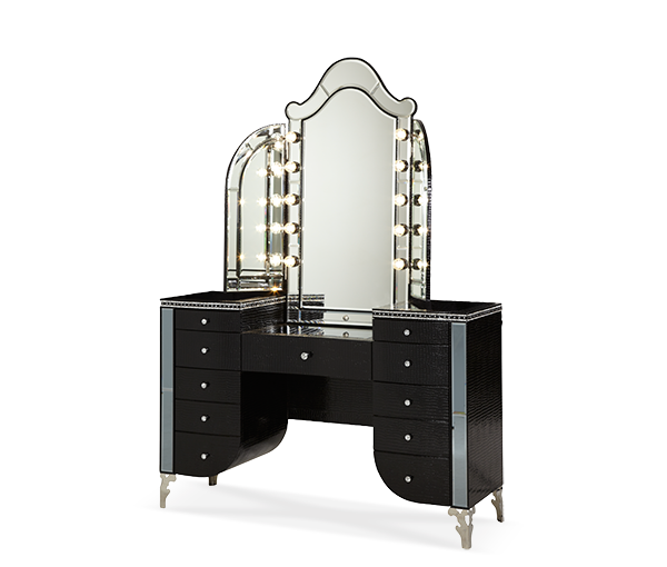 AICO - Michael Amini - Hollywood Swank Starry Night Upholstered Vanity & Mirror (2 pc)
