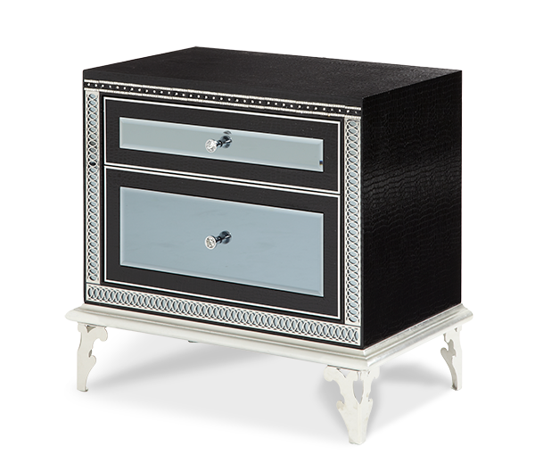 AICO - Michael Amini - Hollywood Swank Starry Night Black Iguana Upholstered Nightstand
