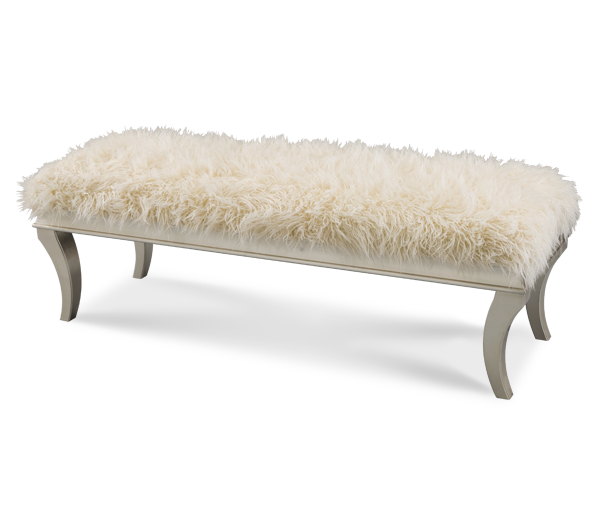 AICO - Michael Amini - Hollywood Swank Platinum Faux Sheepskin Bed Bench