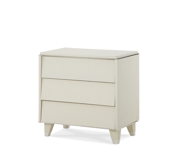 AICO - Michael Amini - Beverly Blvd Pearl Caviar Upholstered Nightstand