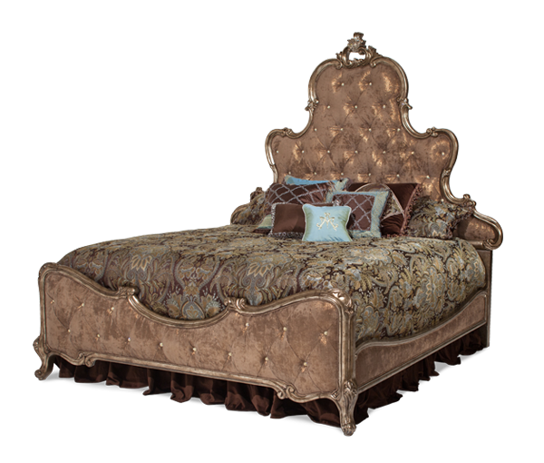 AICO - Michael Amini - Platine de Royale Lt. Espresso Cal King Panel Bed w/Brown Fabric (3pc)