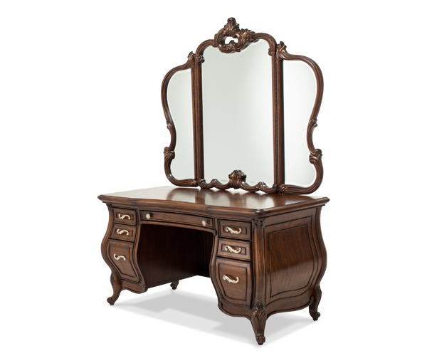 AICO - Michael Amini - Platine de Royale Lt. Espresso Vanity Desk & Glass Top & Mirror