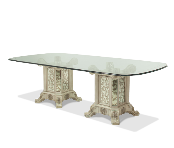 AICO - Michael Amini - Platine de Royale 102 Rectangular Glass Table w/ 2 Bases (102 in x 50 in)