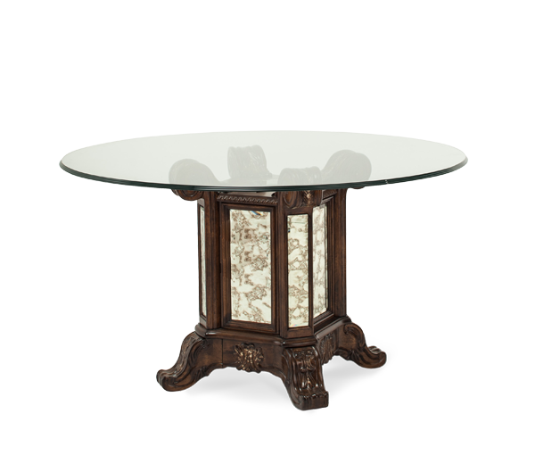 AICO - Michael Amini - Platine de Royale Lt. Espresso 54 Round Glass Top w/Table Base