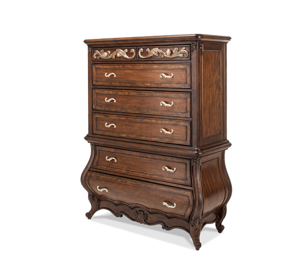 AICO - Michael Amini - Platine de Royale Lt. Espresso 6 Drawer Chest (2 pc)