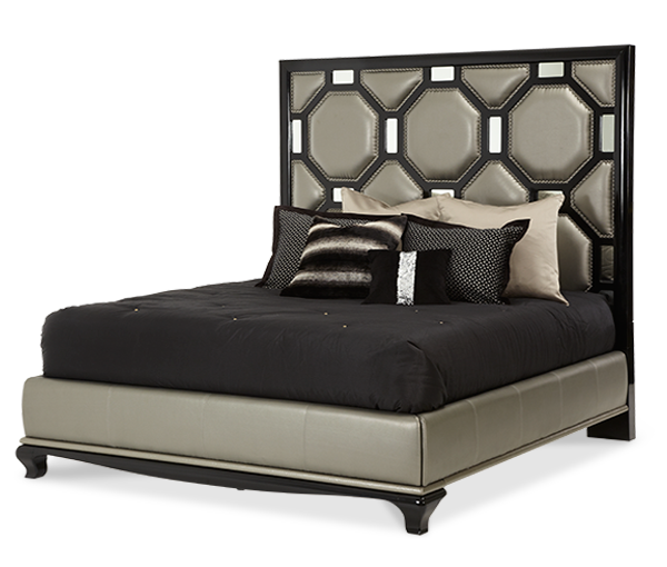 AICO - Michael Amini - After Eight Cal King Upholstered Bed Onyx