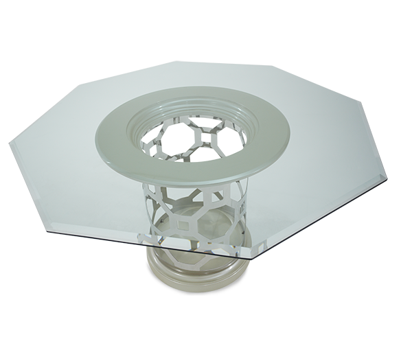 AICO - Michael Amini - After Eight 60'' Round Dining Table with Octagonal Shaped Glass Top