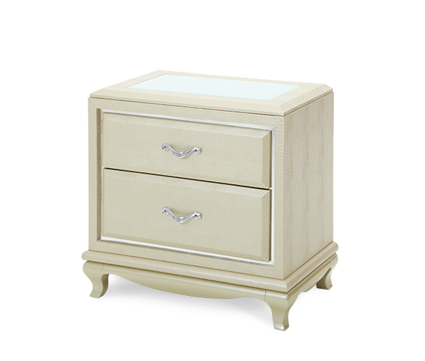 AICO - Michael Amini - After Eight Pearl Croc Nightstand