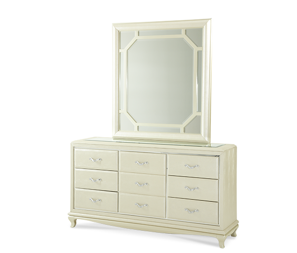 AICO - Michael Amini - After Eight Upholstered Dresser and Mirror