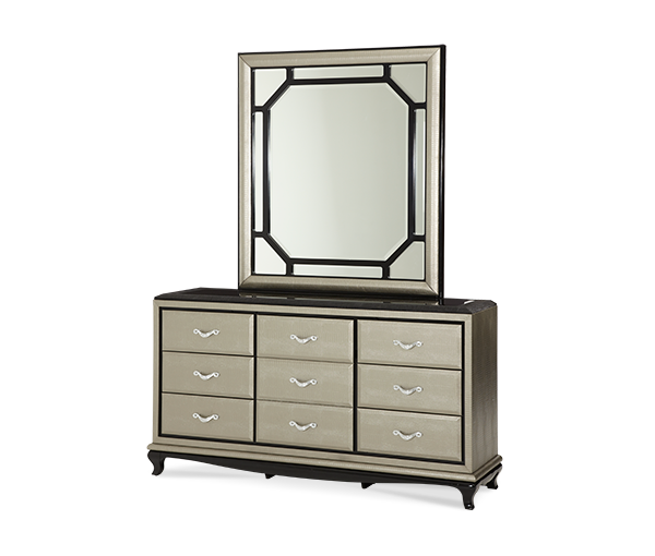 AICO - Michael Amini - After Eight Upholstered Dresser and Mirror Titanium