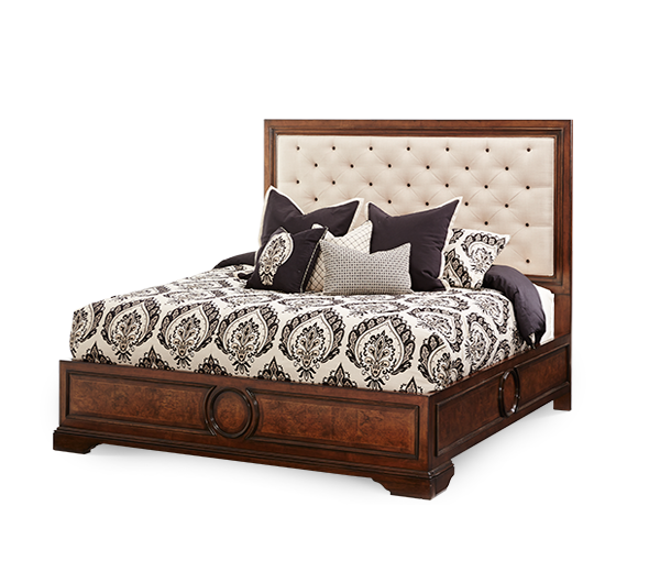 AICO - Michael Amini - Bella Cera Queen Panel Bed w/Fabric Tufted Headboard