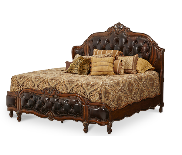 AICO - Michael Amini - Lavelle Melange Cal King Wing Mansion Bed w/Leather Tufted Inserts (3 pc)