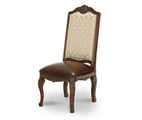 AICO - Michael Amini - Victoria Palace Fabric Back Side Chair w/Leather Seat