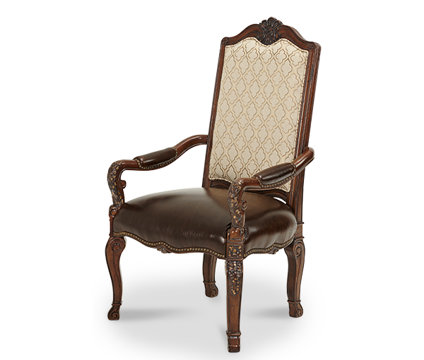 AICO - Michael Amini - Victoria Palace Fabric Back Arm Chair w/Leather Seat