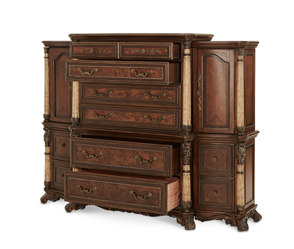 AICO - Michael Amini - Victoria Palace 6 Drawer Chest with Left and Right Piers