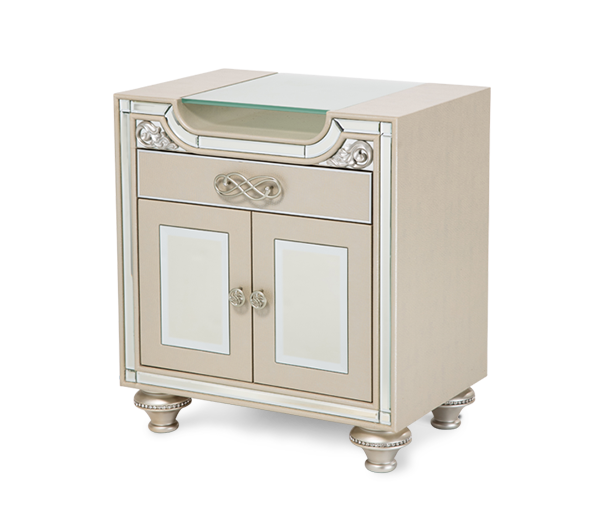 AICO - Michael Amini - Bel Air Park Upholstered Nightstand Champagne