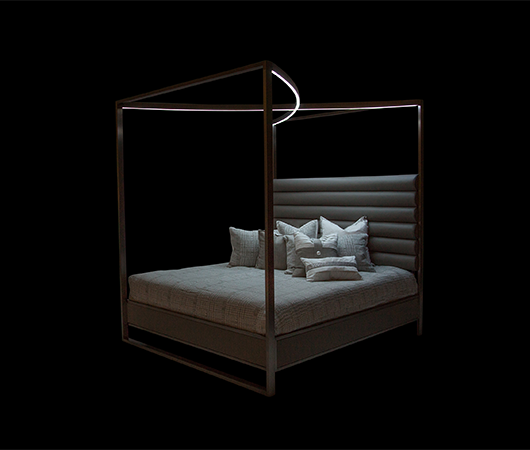 AICO - Michael Amini - Metro Lights Cal King Metal Bed w/Canopy